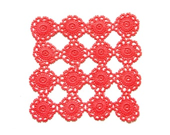 Pink Coral hand dyed Crochet Doily Vintage square doily