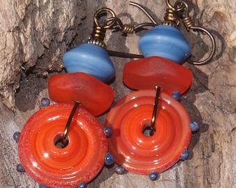 Sunrise in Denim--Orange and Denim Blue Disc Lampwork Beads   576
