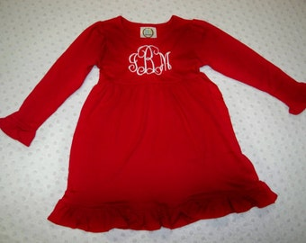 Monogrammed Red Dress - Baby Girl or Toddler Girl Dress Embroidered with Initials - Red Christmas Dress or Valentine's Dress Matching Bow