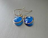 Beautiful Blue Onyx Gemstone Earrings Set in Gold Bezels - Simple - Elegant - Contemporary