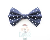 Navy Polka Dot Bow Tie - Polka Dot Hair Bow - Dottie in Navy - dainty and Dapper