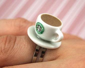 coffee ring kawaii polymer clay charms miniature food jewelry polymer clay food ring coffee cup ring starbucks ring coffee mug ring charm
