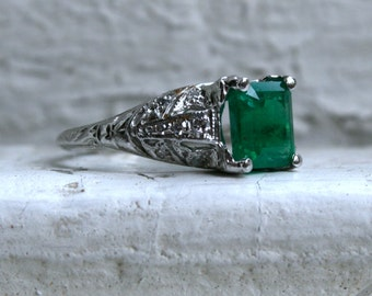 RESERVED - Gorgeous Vintage Art Deco Platinum Diamond and Emerald Engagement Ring - 1.88ct.
