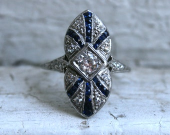 RESERVED - Stunning Art Deco Platinum Diamond and Sapphire Navette Ring.