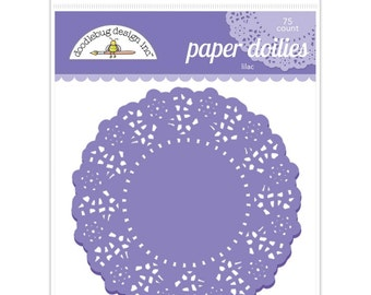 Lilac Purple Paper Doilies 4.5 Inch Set of 75 by Doodlebug Designs