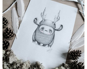 PRINT Fine ART Drawing Illustration Pencil Drawing Graphite Nursery Home DECORATION Postcard Kawaii - Little Yeti