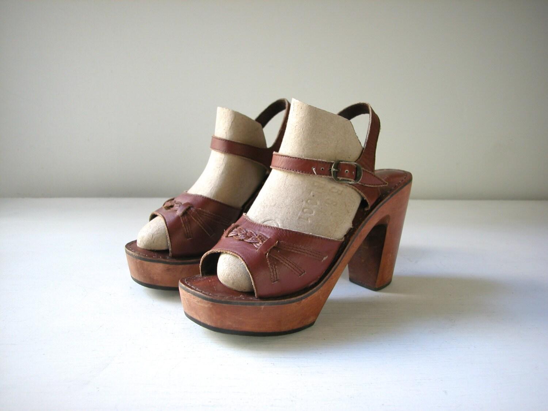vintage leather and wood platform sandals by