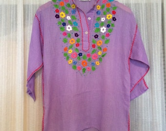 Vintage Mexican Embroidered Tunic Sheer Cotton Bohemian Oaxaca