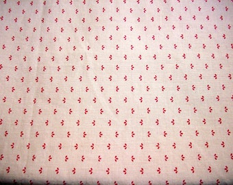 1 Yard 100% Cotton Red/Khaki Floral Print Fabric
