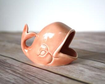 Ring Holder - Peach Whale Jewelry Dish - Mid Century Modern Ceramic Whale - MCM Decor -  Mid Mod Jewelry Storage