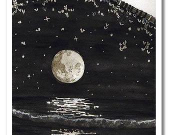 knitted moonlit sea watercolor print