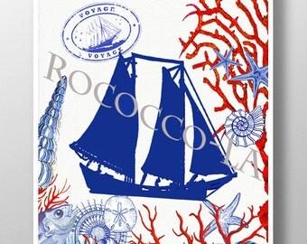 Nautical print poster, Sea life, SAIL BOAT Mixed media Decorative art painting drawing illustration POSTER -   print