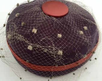 Vintage Purple Hat with netting and Button