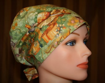 Tie Back Surgical Scrub Hat/ Chemo Hat-- Vino