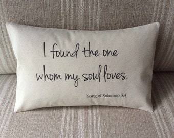 "Wedding Gift Pillow Cover - 12"" x 18"" Decorative Pillow Cover - Wedding Gift, Anniversary, I Found the One Whom My Soul Loves, Solomon 3:4"