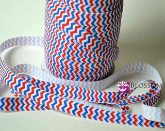2 or 5 Yard Increments -  Red White Blue CHEVRON 5/8 Inch Printed Fold Over Elastic - foe - DIY Hair Ties Wholesale - Patriotic 4th of July