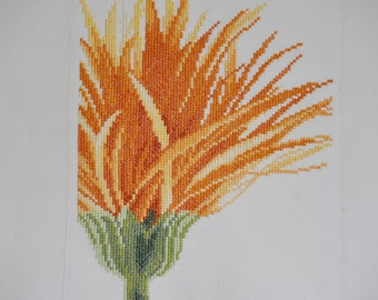 Finished / Completed Cross Stitch - Lanarte  - Close-up yellow flower (35052) crossstitch counted cross stitch