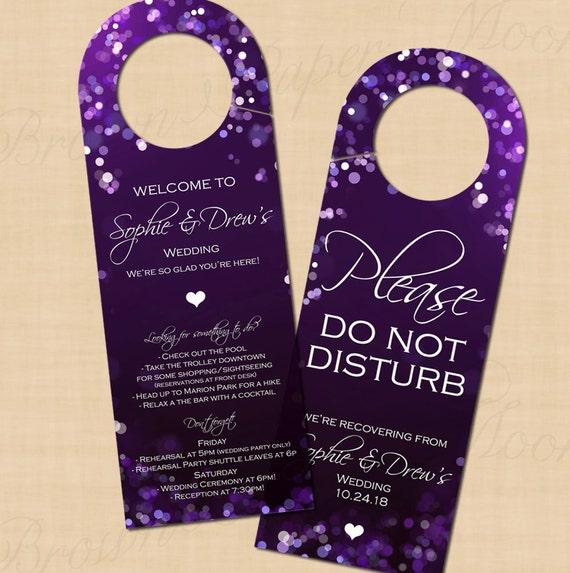 Purple Night Sky Door Hanger Text Editable Printable On