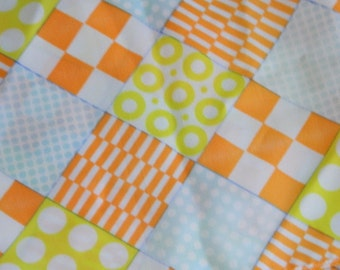 Vintage Head Scarf / 60s Geometric Orange and Yellow Rectangular Scarf / Bright Skinny Scarf