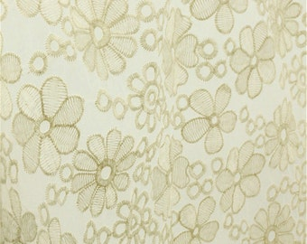 Ivory lace fabric, Embroidery Floral Flower, Ivory Color,Delicate,Translucent,Scalloped Cotton fabric 1 yard (W58-Ivory)