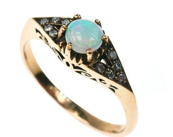 Gold Vintage Opal Ring, 10K 9ct 9k 14k 18k Antique Style Sapphire Women Ring Victorian Amethyst Ruby Emerald Custom, R86