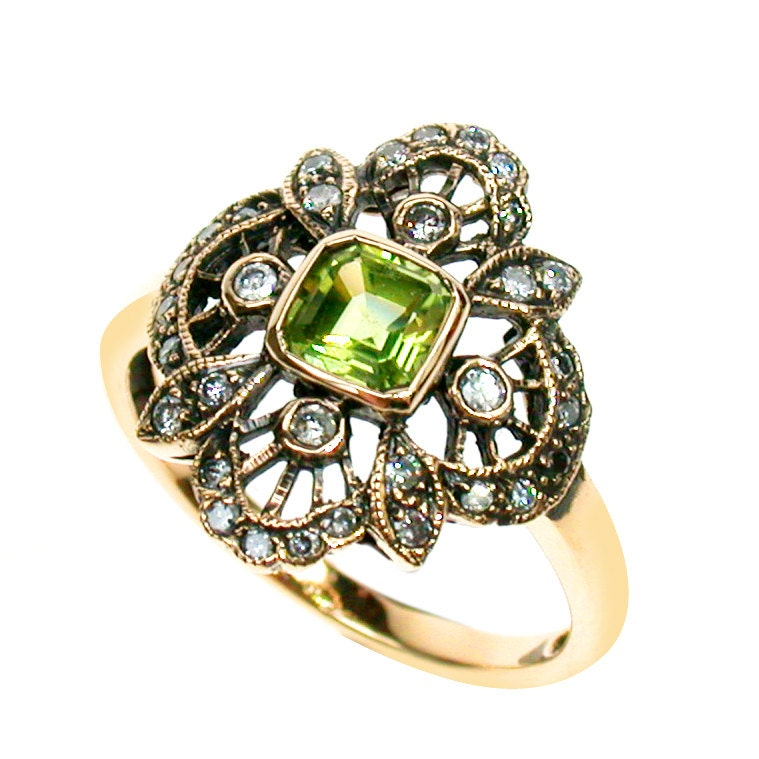 vintage peridot ring 9ct gold flower ring antique