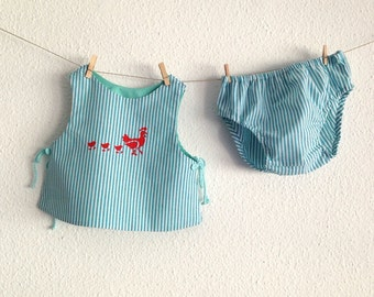 on sale 2 piece baby, red stenciled mother hen and her chicks, new baby, christmas gifts for babies, baby clothing