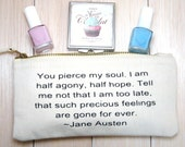"""Jane Austen Make Up Case, Captain Wentworth """"Half agony, half hope..."""" Persuasion Quote, Literary Cosmetic Case, Book Purse, Uk"""