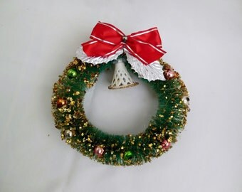 Bottle Brush Christmas Wreath Green with Glass Balls Bell Foil Leaves and Red Bow