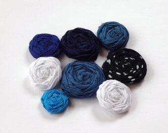 SALE Mix Blue and Show White Fabric Rosettes Embellishment