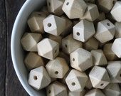Princeton Chunky Geometric Cube Bleached Off White Wood Beads - Extra Large 20mm - Perfect for Trendy Necklace Love (10)