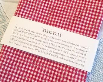 Set of 50 Menu Napkin Rings | Wedding, Rehearsal Dinner, or Dinner Event Menu | Darby Cards