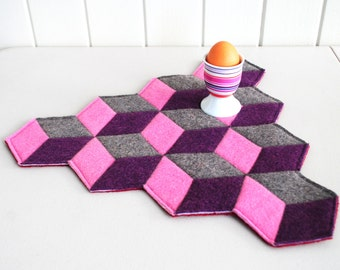 Optical Illusion - Geometric Trivet -  Upcycled Wool Felt - Mouse Pad - Table Topper