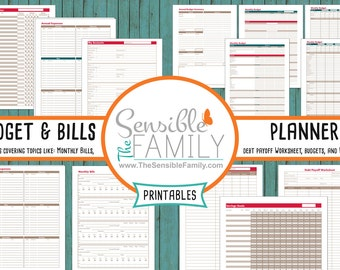 Budget and Bills Planner | 13 Documents to Help Take Full Control of Your Spending and Debt {Instant Download}