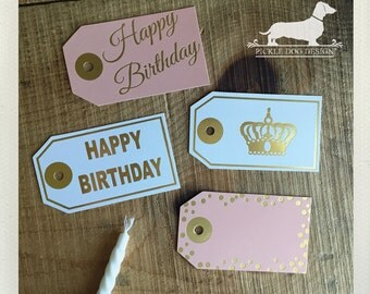 CLEARANCE! 8 Happy Birthday. Gift Tags -- (Peach, Pink, Gold Foil, Hang Tags, Birthday Gift Wrap, Party, Favor Tags, Princess Crown, Cute)