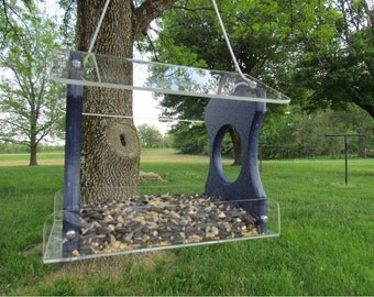 Recycled Poly Lumber Hanging Birdfeeder, Blue, 3030B Free Shipping