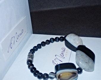 "Unisex Genuine Onyx Bracelet "" Acceptance"" ANena Jewelry, Free Shipping World - Wide"