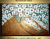 """Sale Original Large Abstract Painting Modern Contemporary Canvas Art  Gold White Blue """"BLOSSOM TREE"""" 36x24 Palette Knife Texture Oil J.LEIGH"""