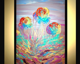 """Large Abstract Painting Original Modern Acrylic Oil Painting Canvas Art Rainbow Roses Orange Green 36x24"""" Palette Knife Textured  J.LEIGH"""