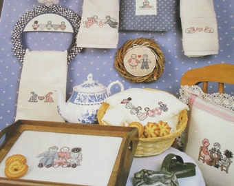 "Vintage Cross Stitch 1986 ""Sarah Jane's Tea Party"" paper pattern booklet.  Used"