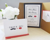 Moustache and lips invitation set