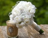 Budget Brooch Bouquet Ivory White with FREE Boutonniere