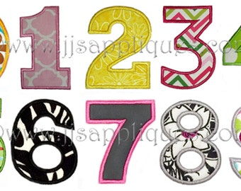 Fonts - Block  Applique Fonts - Block Applique Numbers Machine Embroidery Designs, 3 sizes for 4x4 hoop - Instant Download