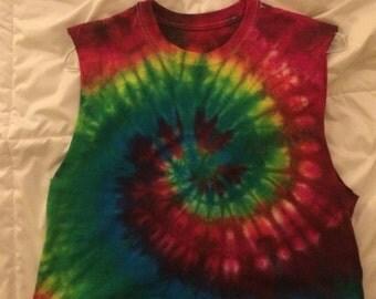 Colorful tie dye muscle tee