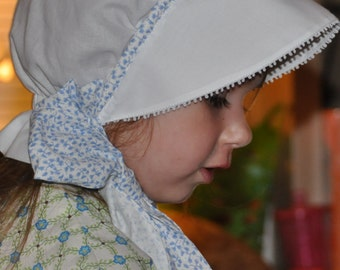 White Bonnet with Blue Accents, Light weight, Breathable,Sizes 0-3 thru 24 Months for warm weather