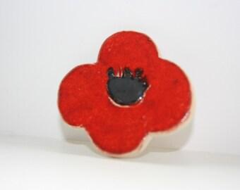 Poppy Ceramic Brooch