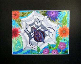 Original pen and ink drawing, Spider in web, abstract art, spider with web and flowers