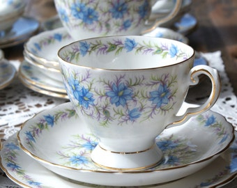 Tuscan 'Love in the mist' vintage china tea cup trio