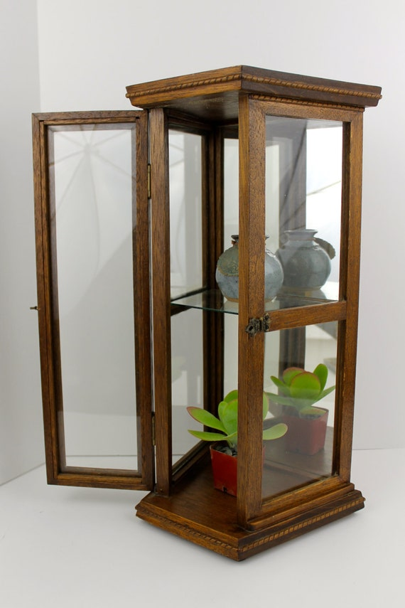 Vintage oak curio cabinet hanging wall mirrored glass