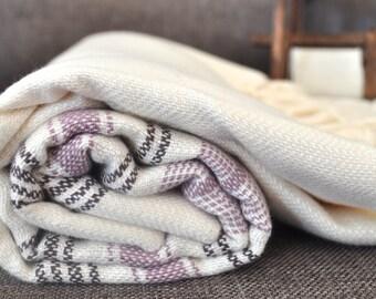Turkish Towel Bamboo Peshtemal Towel Pure Soft Ivory Pink dark blue striped